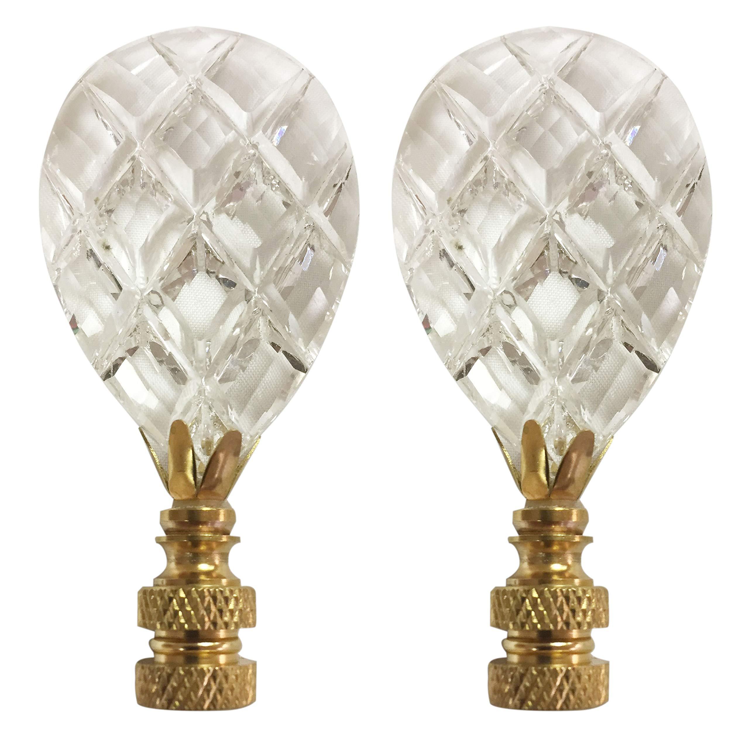 Royal Designs CCF2013M-PB-2 Medium Diamond Swiss Cut Lamp Finial, Clear Crystal Prism with Polished Brass Base, Set of 2
