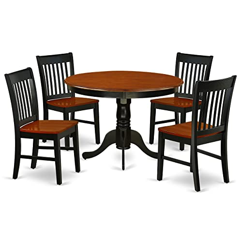 HLNO5-BCH-W 5Pc Round 42 Inch Table And Four Wood Seat Kitchen Chairs