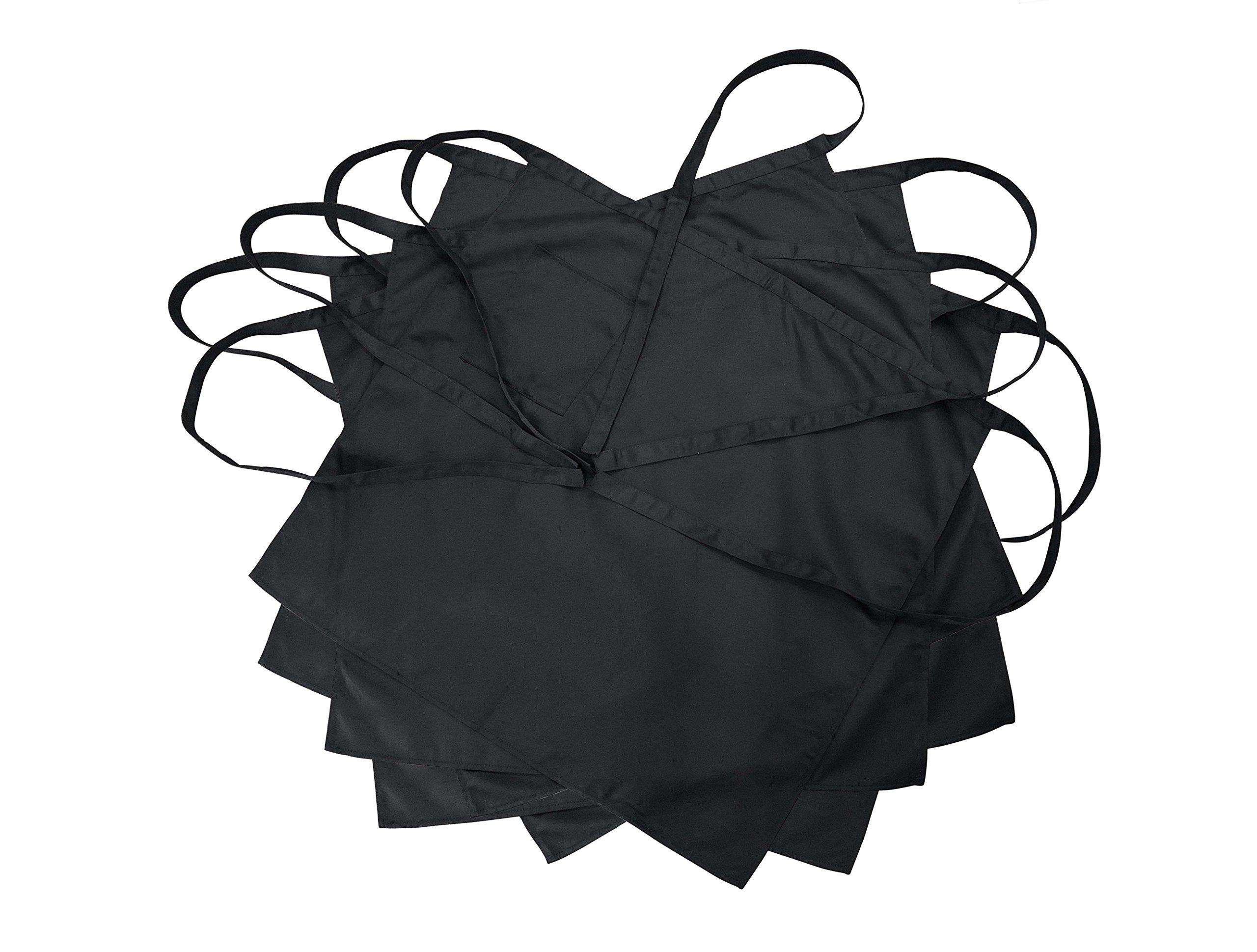 Nanxson 5pcs Men's Chef Black Unisex Half Long Solid Color Bistro Apron AL8024- (5pcsblack, one size)