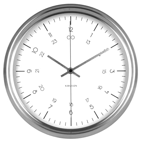 Karlsson Nautical Reloj de Pared, Acero Inoxidable, Blanco, 6x30x30 cm