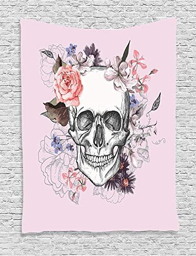 Skull Tapestry by Ambesonne, Skull and Blooms Ceremony Celebrating Art Design Vintage Print, Wall Hanging for Bedroom Living Room Dorm, 40 W X 60 Inches, Baby Pink Black White Salmon
