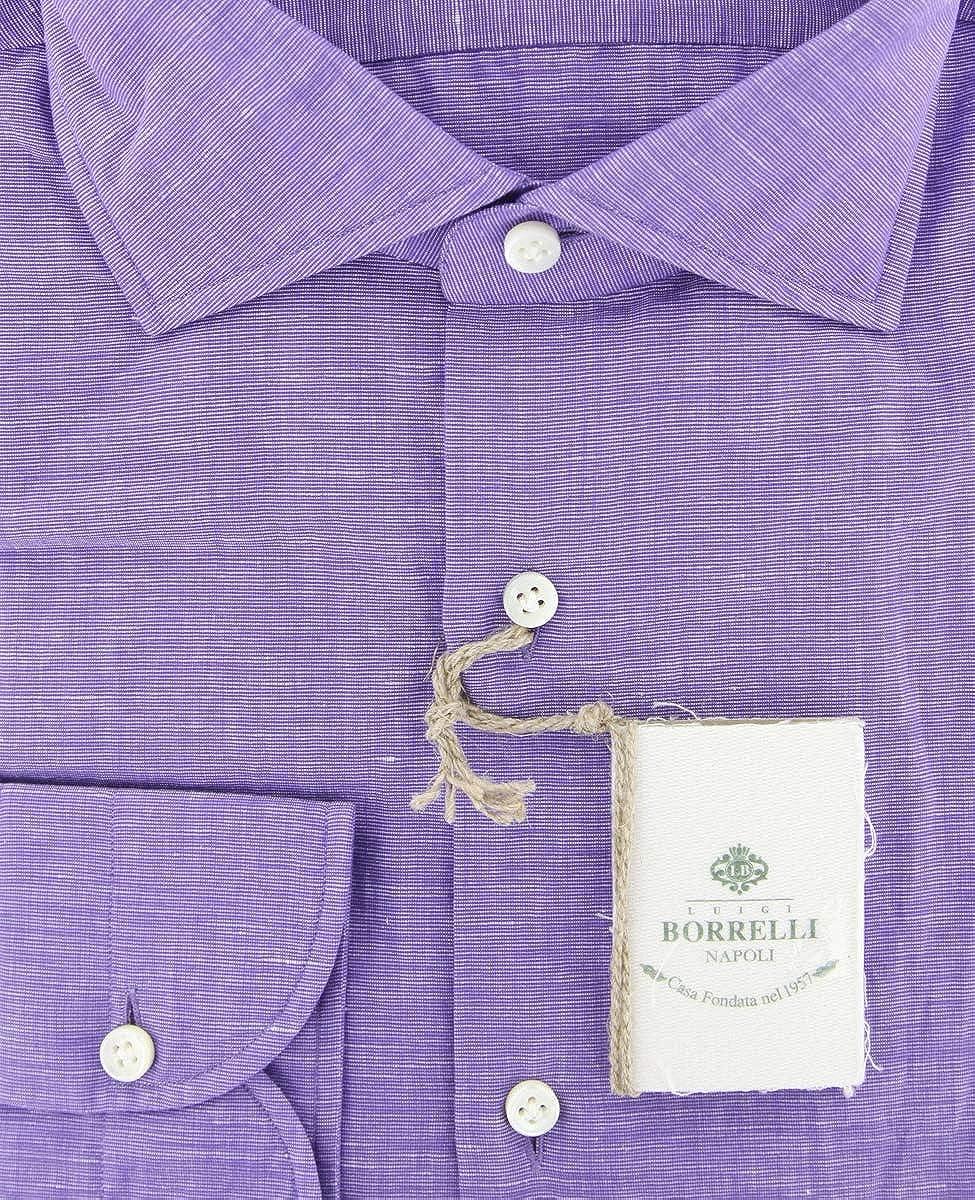Luigi Borrelli Patterned Button Down Spread Collar Cotton Blend Slim Fit Dress Shirt
