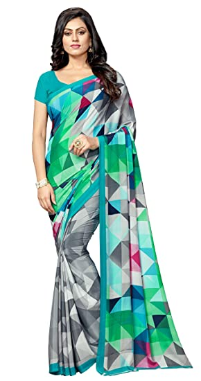 79c1950a7e7e1 Vastrang Sarees Crepe Silk Saree With Blouse Piece (VS2257B Aqua blue Free  Size)  Amazon.in  Clothing   Accessories