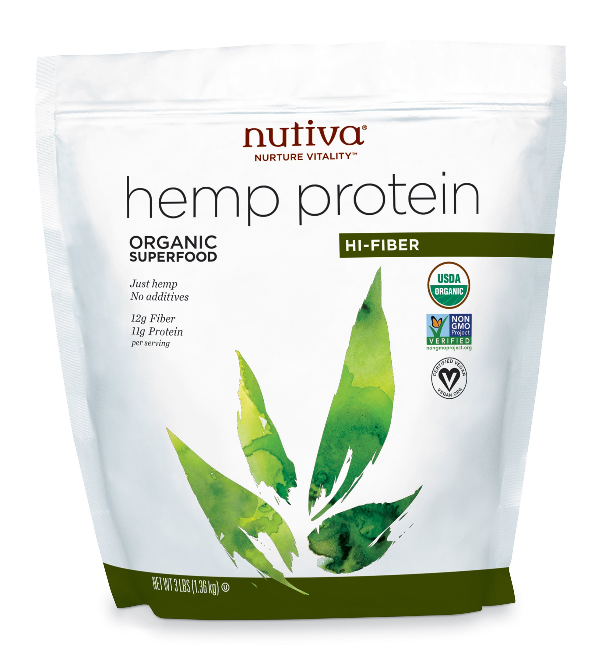 Nutiva Organic, Cold-Processed Hemp Protein from non-GMO, Sustainably Farmed Canadian Hempseed, Hi-Fiber, 3-Pound Bag
