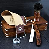 Hand Assembled Classic Collection Vintage Barber Salon Outstanding Wooden Box Straight Cut Throat Wooden Shaving Razor Wooden Black Badger Hair Shaving Brush Natural Tan Cow Leather Strop & DOVO Honing Paste. Gift Set 5 Pc Luxury Kit.