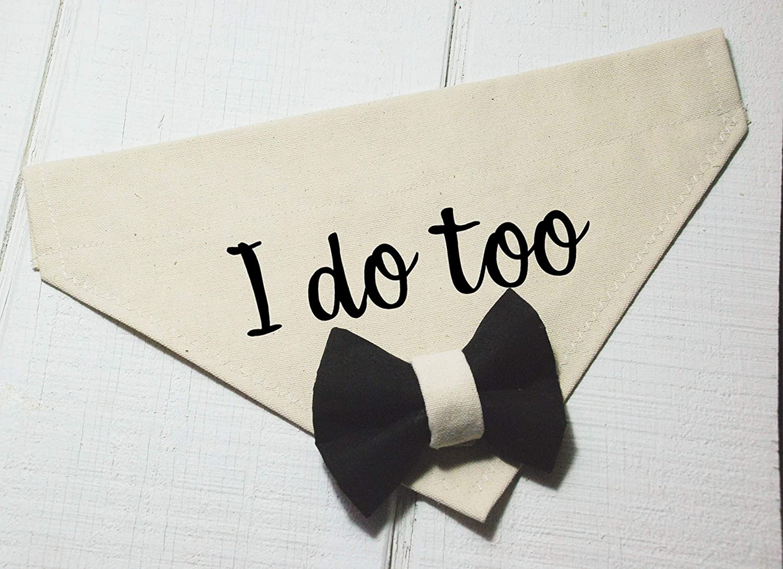I Do Too Dog Wedding Bandana with Black and Beige Bow Tie