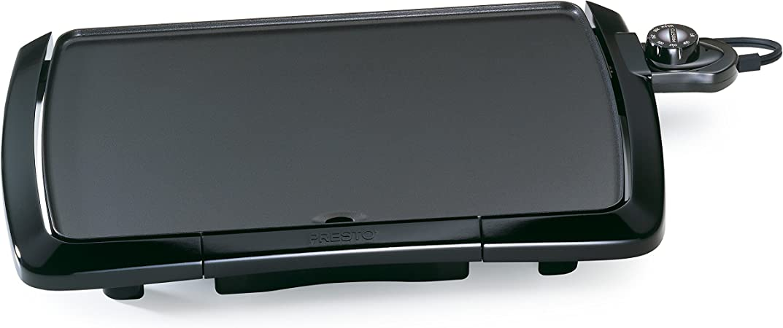 Presto Electric Griddle Fold and Tilt 285 sq in Black w// Temperature Sensor and