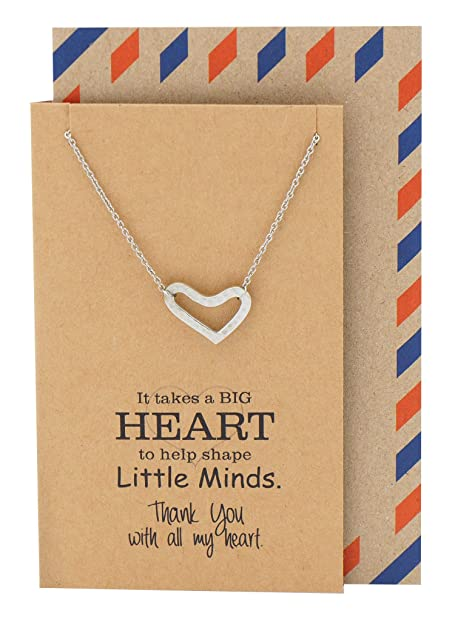 Amazon Com Quan Jewelry Teacher Gifts Heart Necklace Thank You