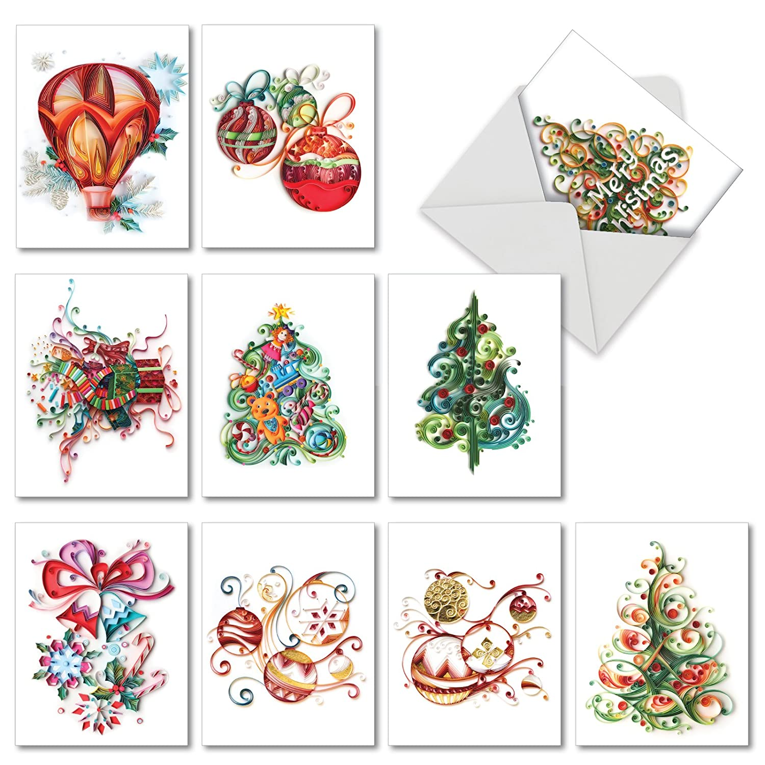 Amazon 10 Printed Christmas Note Cards Christmas Quilling