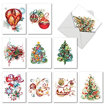 10 printed christmas note cards christmas quilling not hand made paper - Art Christmas Cards