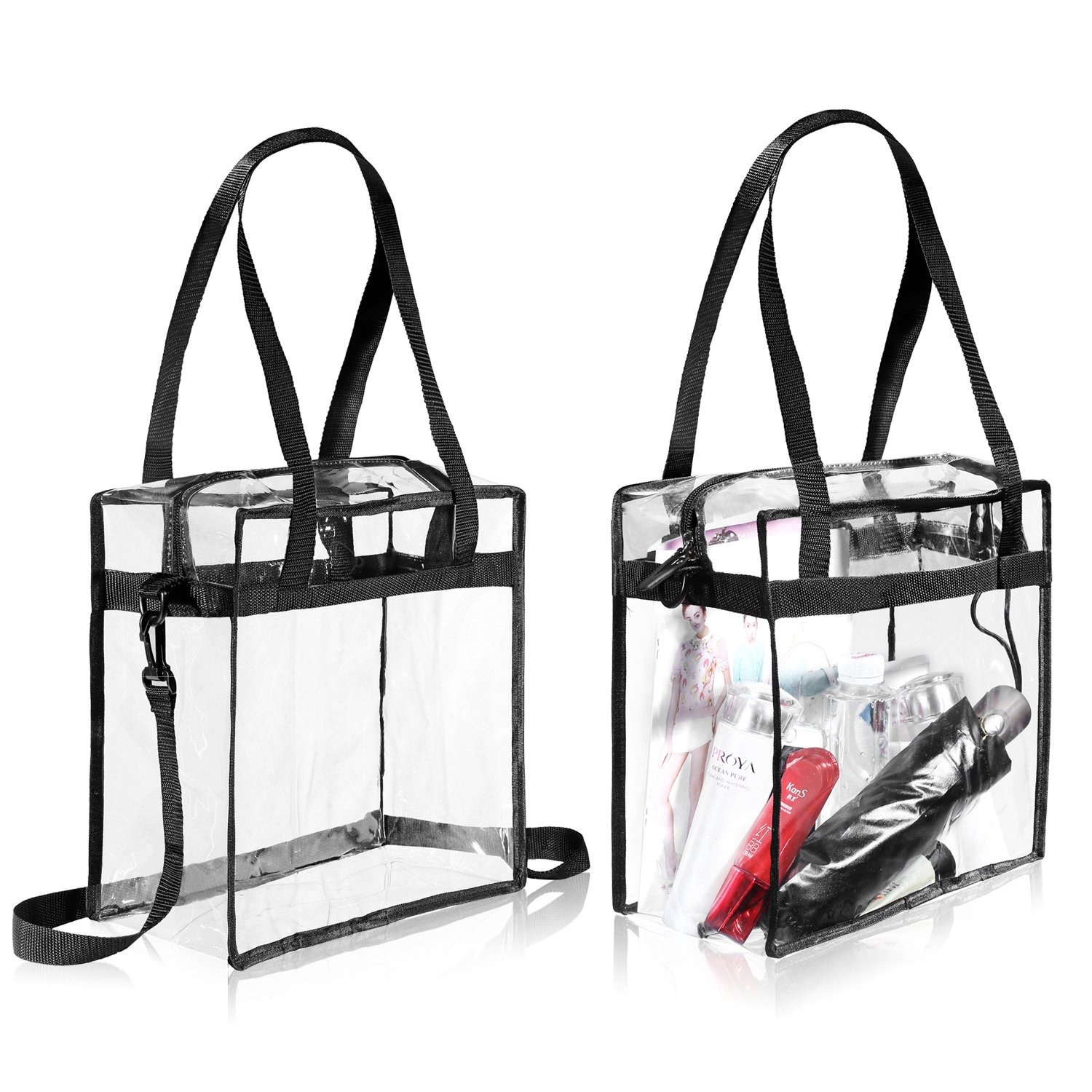 "Clear Bags NFL & PGA Stadium Approved - The Clear Tote Bag with Zipper Closure is Perfect for Work, Sports Games.Cross-Body Messenger Shoulder Bag w Adjustable Strap -12"" X 12"" X 6"" (Two Bag) by BAGAIL"