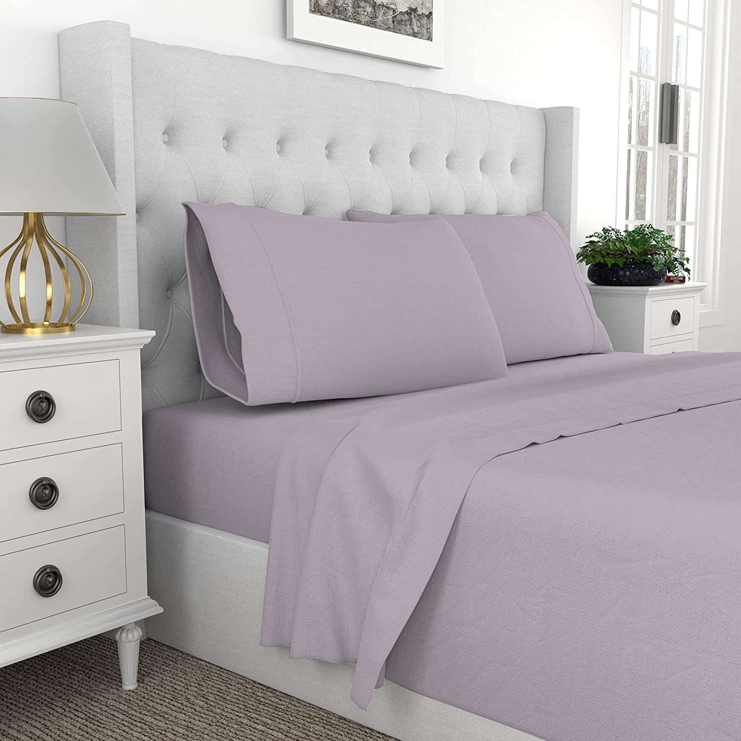 Purity Home 300 Thread Count 100% Organic Cotton Percale Weave 4 Piece Sheets Set, Brushed For Softness, Cool Crisp,GOTS Certified,Fitted Sheet Fits Mattress Upto 18