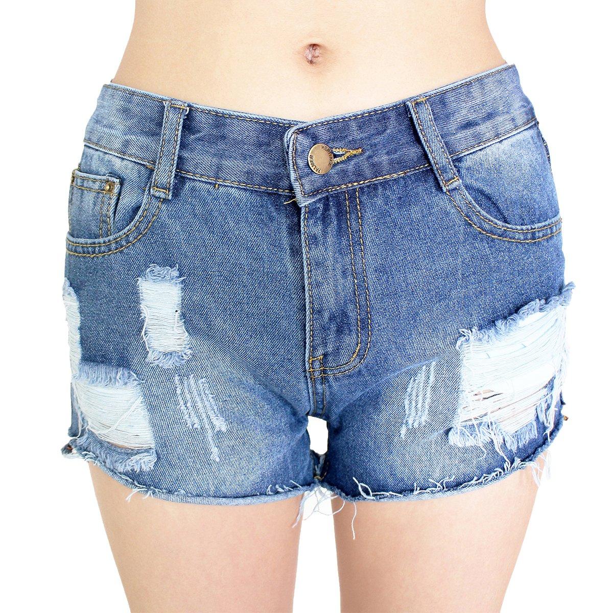 Dorekim Pantaloncini Denim da Donna Short Jeans Vita Bassa