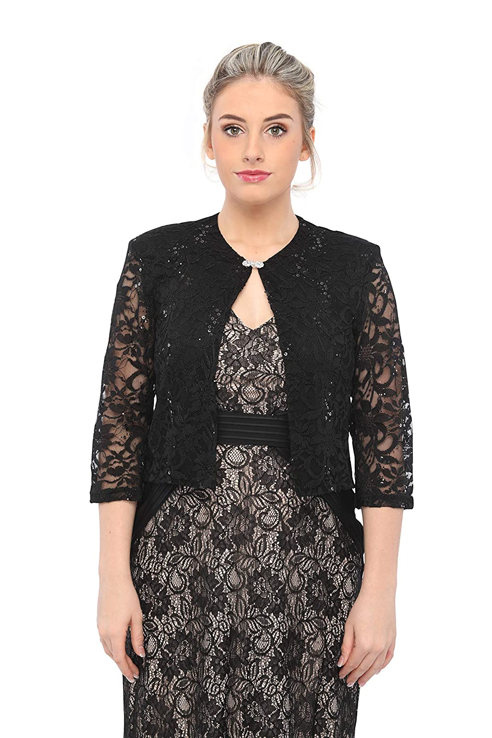 67481f15b SLEEKTRENDS Shrugs for Dresses Dressy Lace Cardigan for Women Open Front  Bolero Jacket with Sequin at Amazon Women's Clothing store: