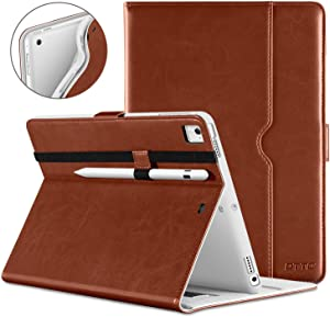 DTTO iPad 9.7 Inch 5th/6th Generation 2018/2017 Case with Apple Pencil Holder, Premium Leather Folio Cover Case for Apple iPad 9.7 inch [Auto Sleep/Wake], Also Fit iPad Pro 9.7/Air 2/Air - Brown