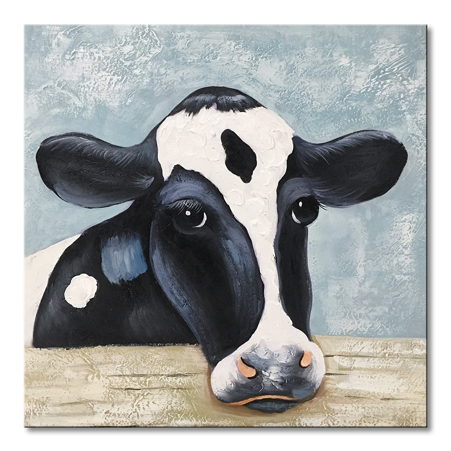 UAC WALL ARTS Hand Painted Oil Painting Animal Funny Artwork Modern Cow Oil Paintings for Home Decor Gift for Father's Day