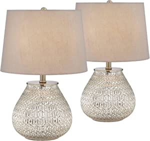"""Zax Accent Table Lamps 19 1/2"""" High Set of 2 Teardrop Mercury Glass Gray Fabric Tapered Drum Shade for Bedroom Bedside Nightstand Office - 360 Lighting"""