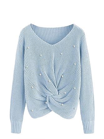 5349652fd1a2 SOLY HUX Damen Perlen Kurz Bauchfrei Stickereien Pullover Langarm Sweatshirt  Pullover Tops Bluse T-Shirt