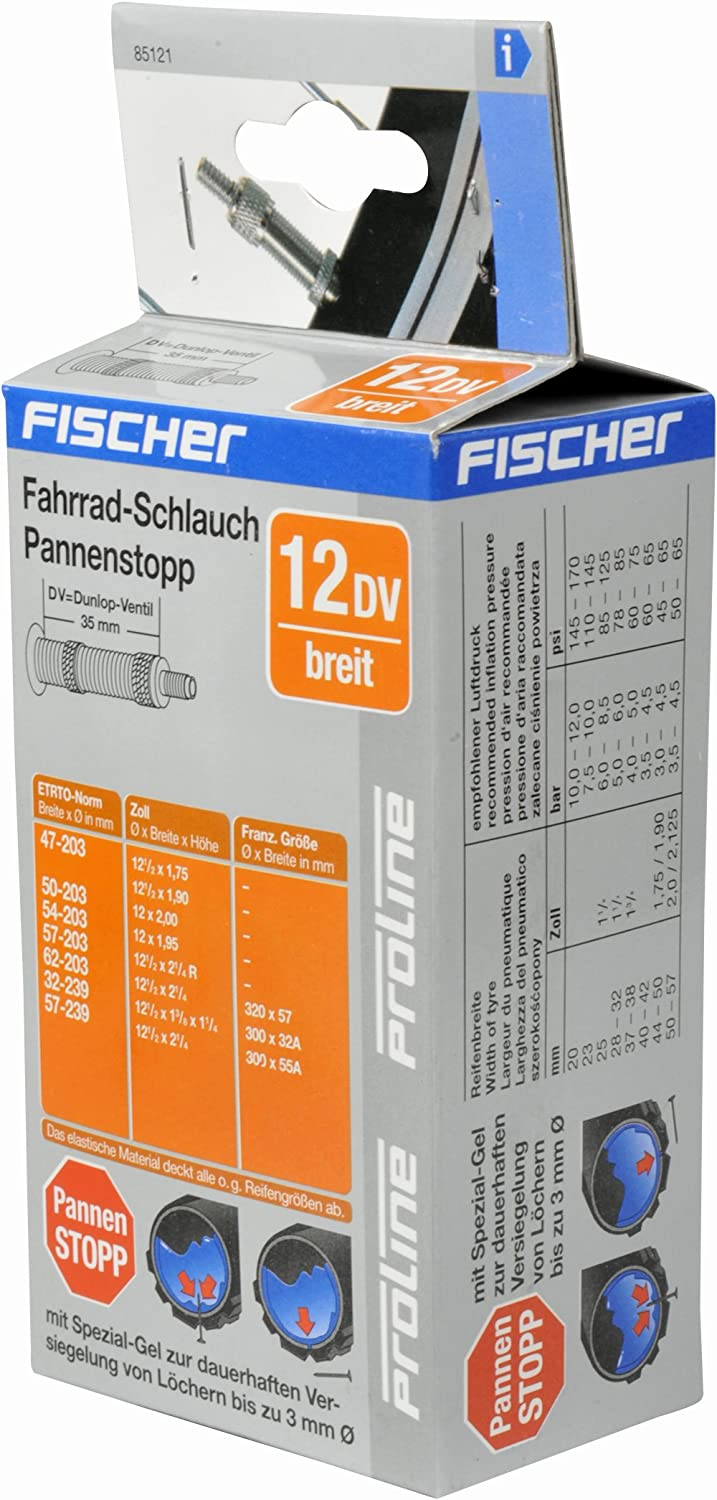 /Black One Size Fischer Pasi 12/Wide DV Bicycle Inner Tube/