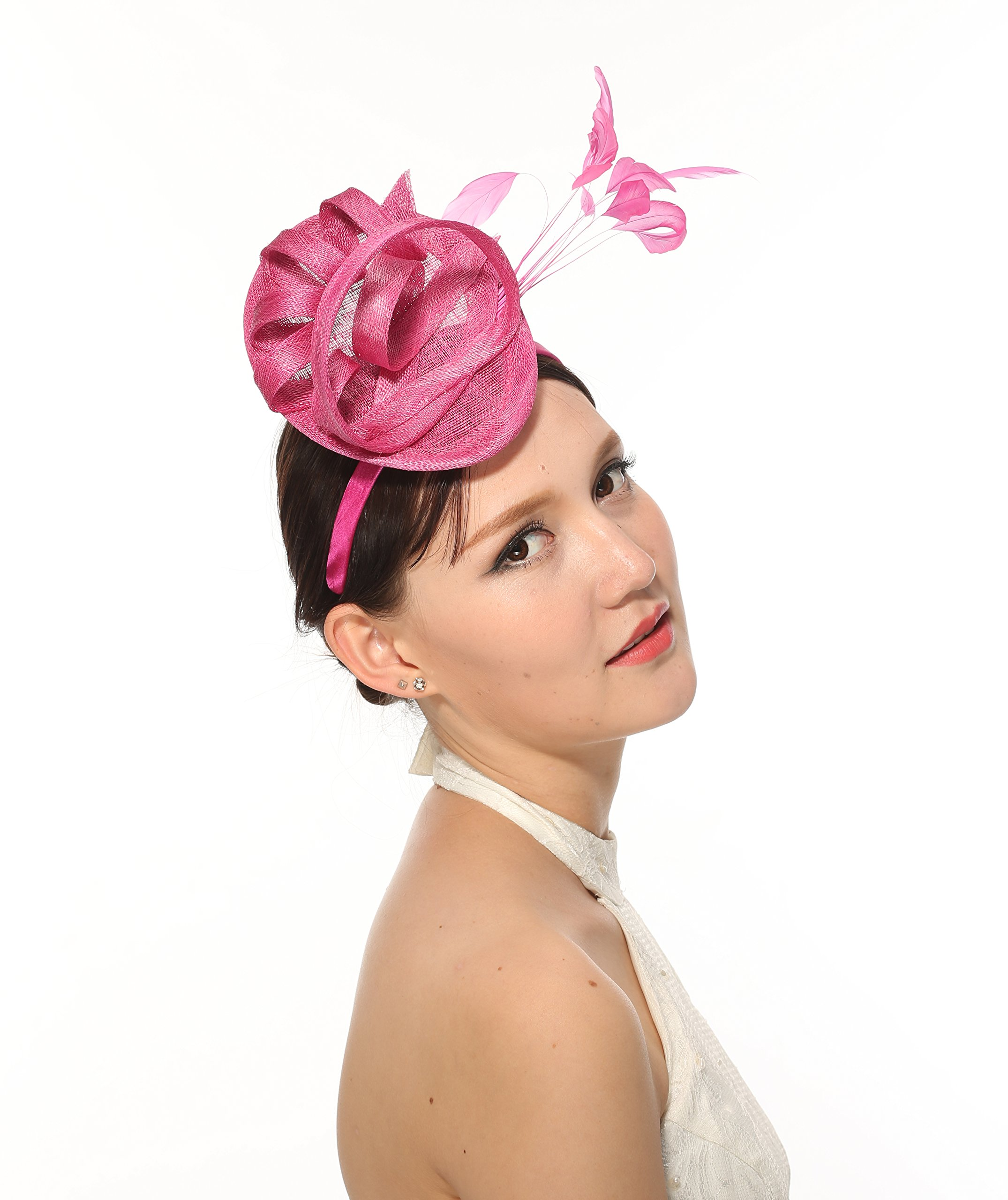 Sinamay Loop Fascinator Hat 7 Colors Available (Hot Pink)