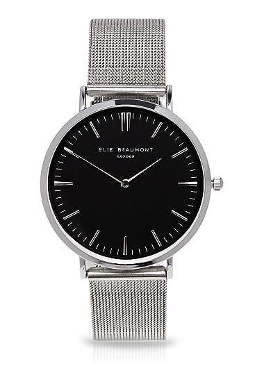 Elie Beaumont de la mujer grande Reloj de cuarzo con negro Esfera Analógica Pantalla Oxford malla - Plata Negro Dial eb805: Elie Beaumont: Amazon.es: ...