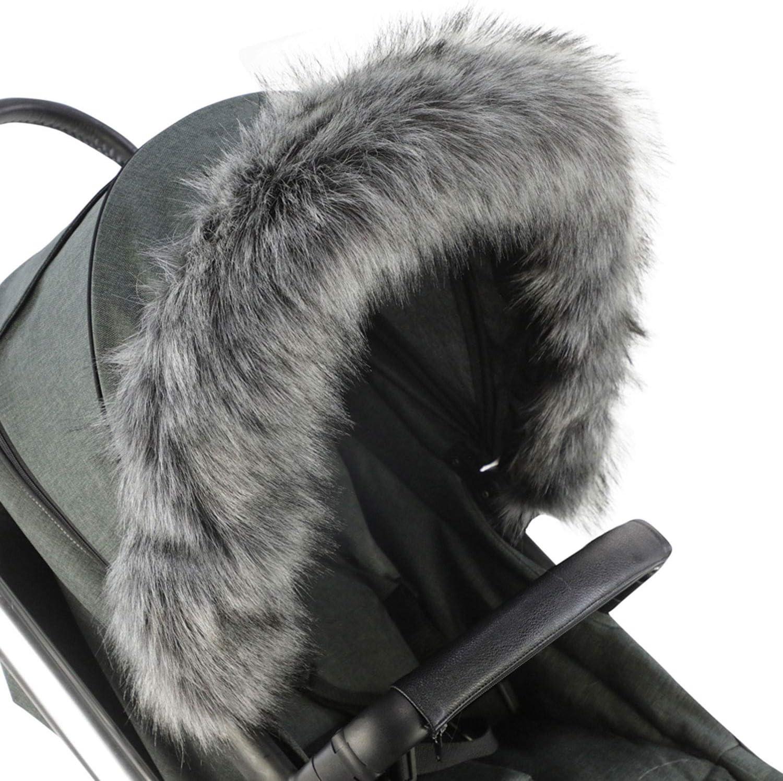 For-Your-Little-One aFHACWE-W225 Color White Pram Fur Hood Trim Compatible On Emmaljunga