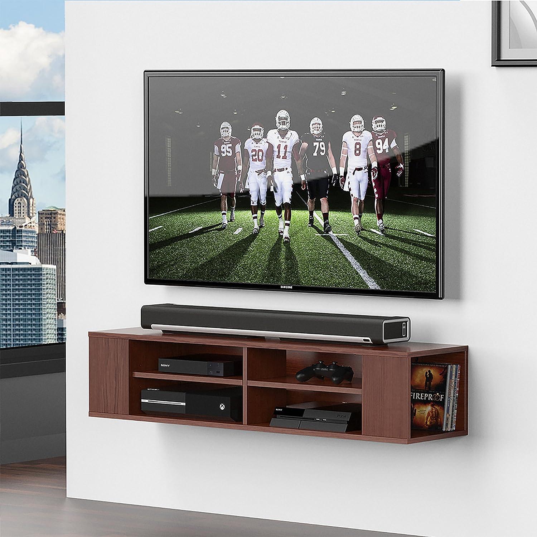 FITUEYES TV Board Niedrigboard Hängeschrank Fernsehschrank Mediawand Wandschrank holz 120x30x26cm holz Wandschrank Walnuss Farbe DS212001WB 9a4eed