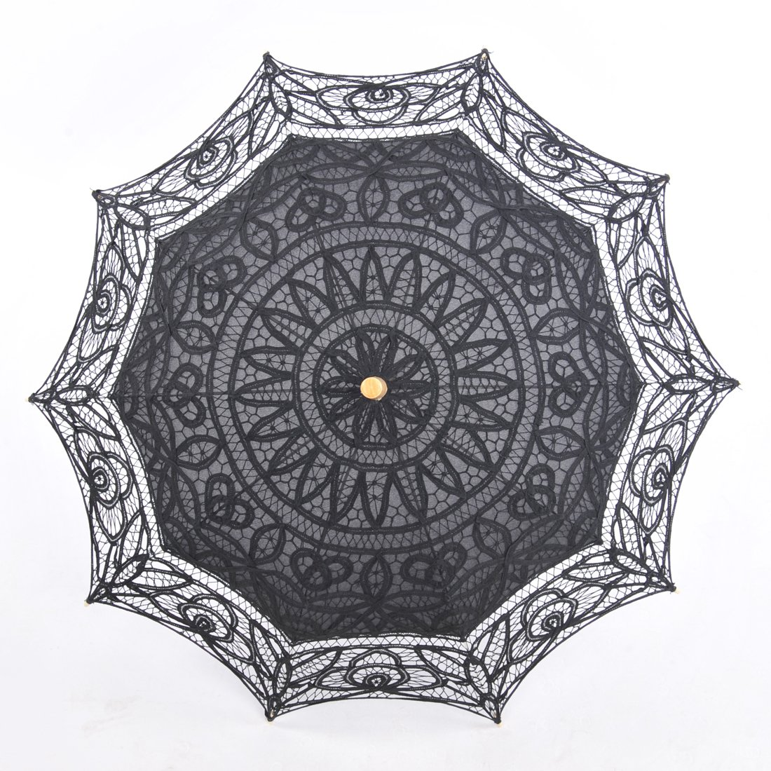 Topwedding Battenburg Lace Outdoor Wedding Parasol Bridal Shower Umbrella, Black