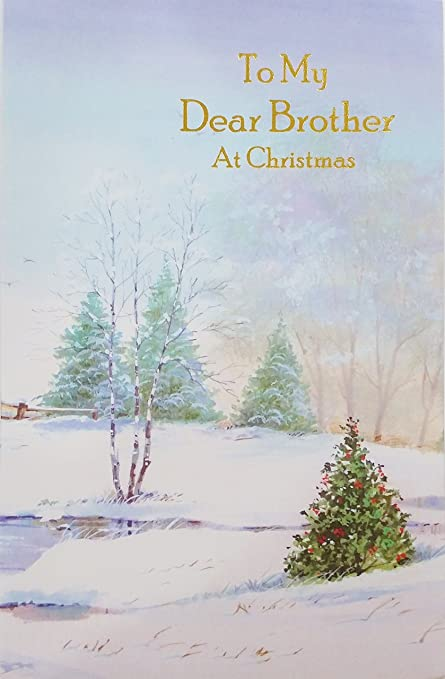 to my dear brother at christmas holiday greeting card very merry christmas and