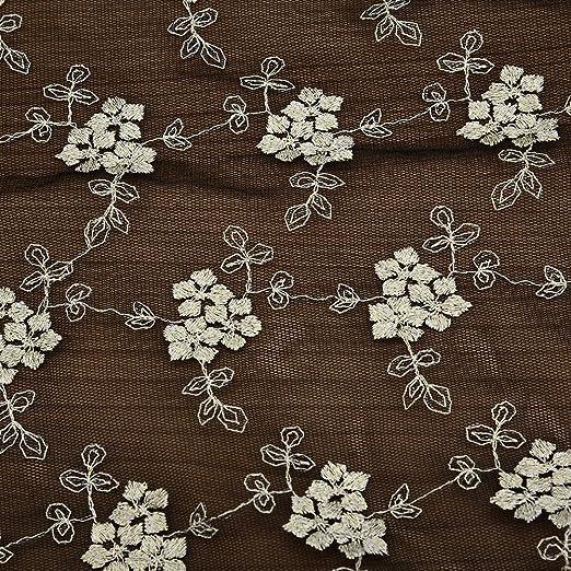 LianLe 2/* 1.3/M bordado algod/ón Floral Tela de Encaje para Boda gamuza Patchwork hecho a mano DIY Craft