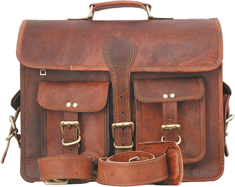 RKH Leather Messenger Bag - Inch Briefcase Messenger Bag Brown Leather