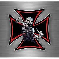 Autocollant Sticker Tuning Moto Tete de Mort Skull Biker Motard Croix de Malte
