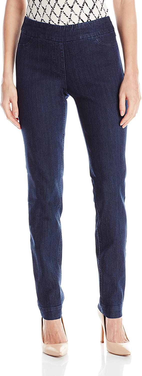 SLIM-SATION Women's Wide Band Regular Length Pull-on Straight Leg Pant with Tummy Control