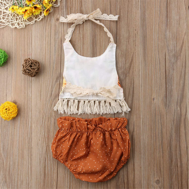 New Newborn Infant Baby Girls Summer Causal 2PCS Sleeveless Belt Lace Sunfolwer Tassel Vest Tops Bow Shorts