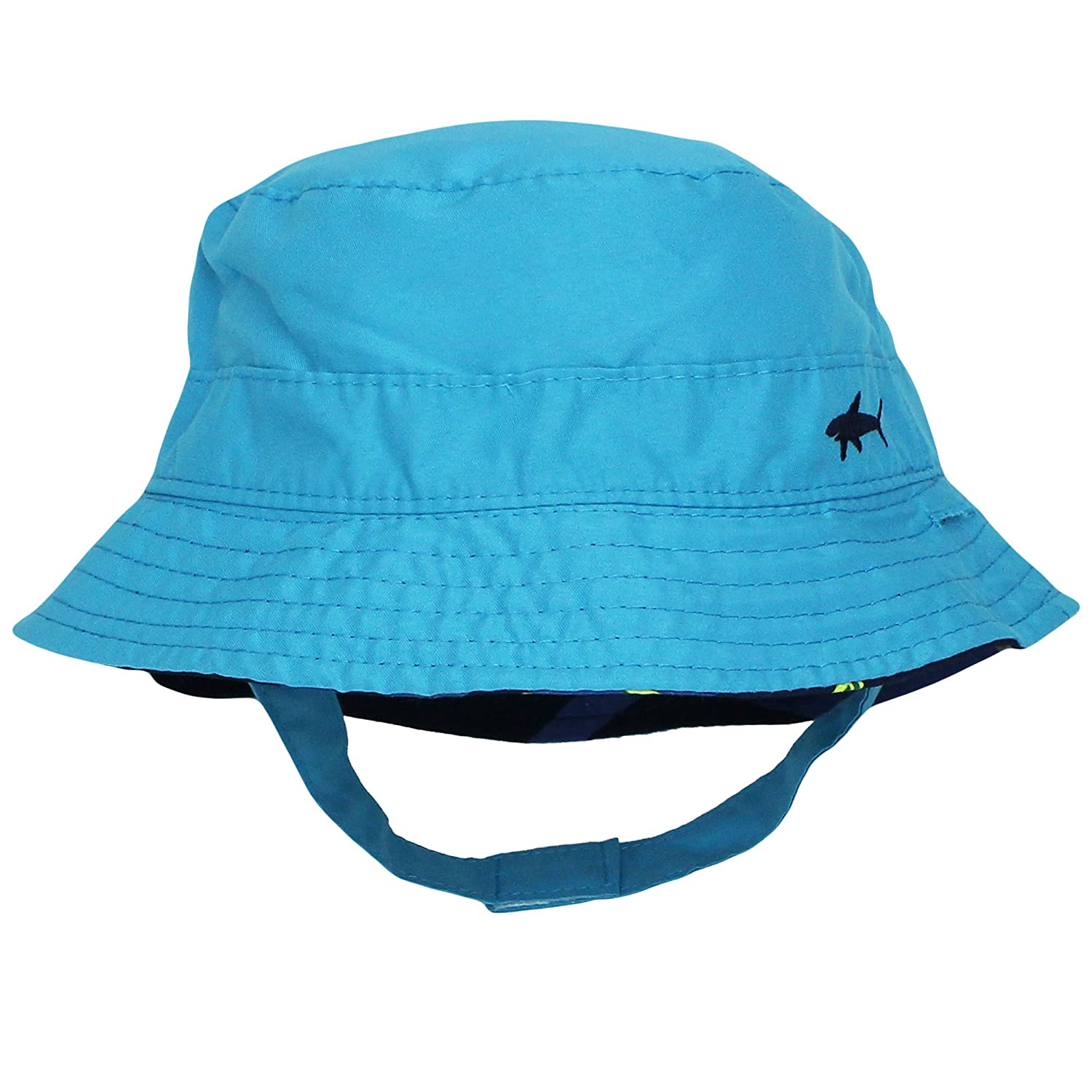 117ea5ddfd8 Amazon.com  Carter s Reversible Shark Solid Navy Blue Bucket Sun Hat with  Chin Strap 12-24  Baby
