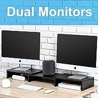 FITUEYES Legno Supporto per Monitor Regolabile Supporto per Computer Portatile Nero DT108001WB