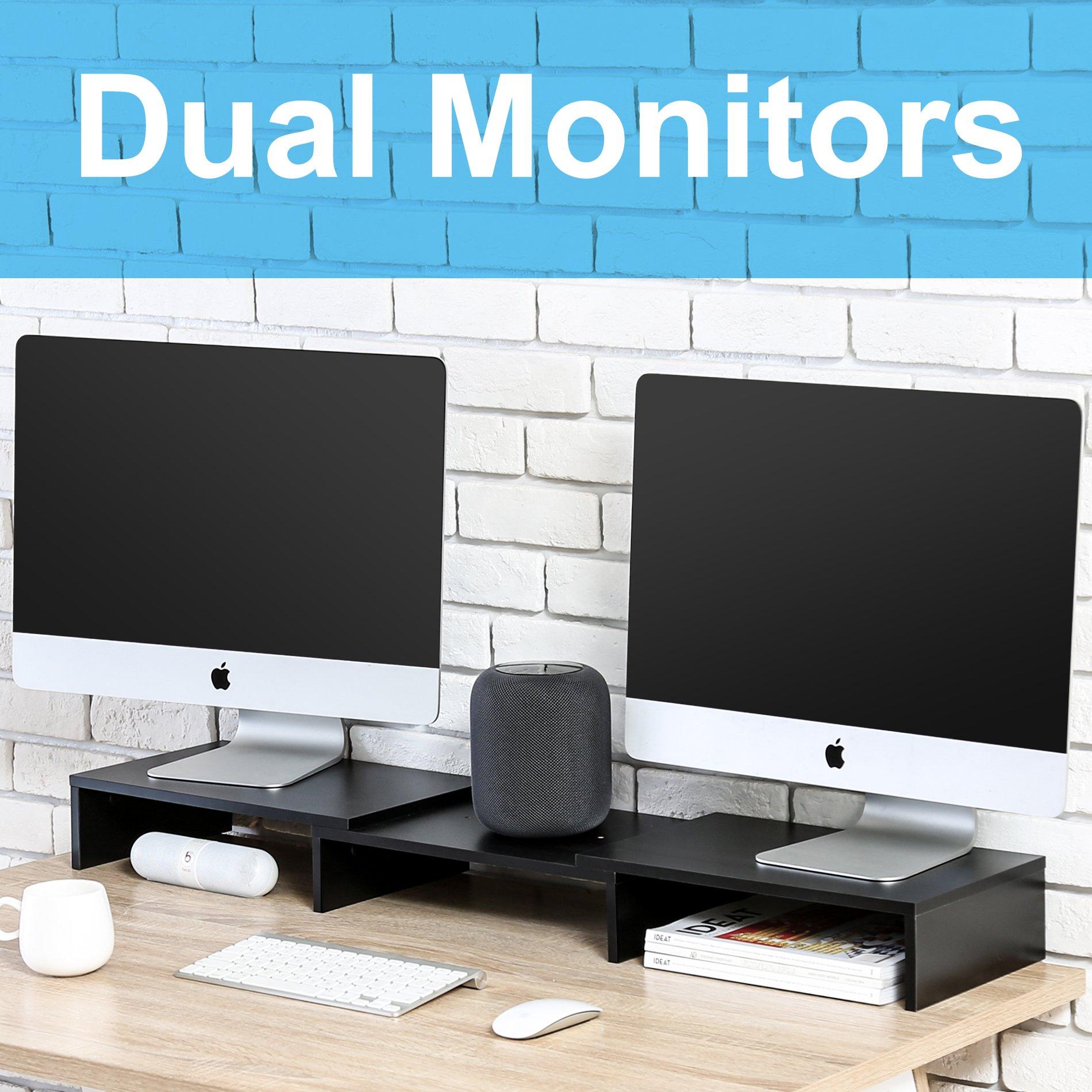 FITUEYES Madera Elevador del Monitor Soporte del Ordenador Portátil Negro DT108001WB