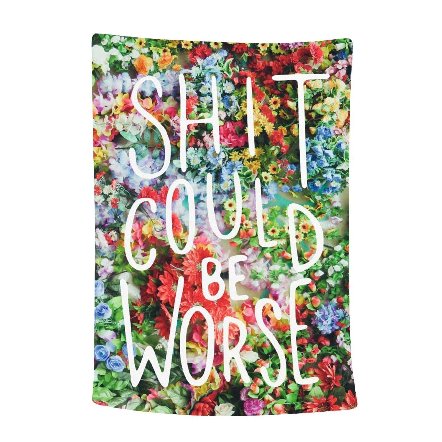 Sunm boutique Flower Tapestry Floral Words Tapestry Wall Hanging Quote Tapestry Funny Tapestry (Flower, 51.2''X59.1'')