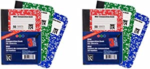 Mini Marble Composition Books, Notebooks, Red, Blue and Green, 6-ct, 300 Total Pages