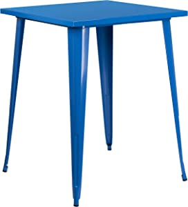 """Flash Furniture Commercial Grade 31.5"""" Square Blue Metal Indoor-Outdoor Bar Height Table"""