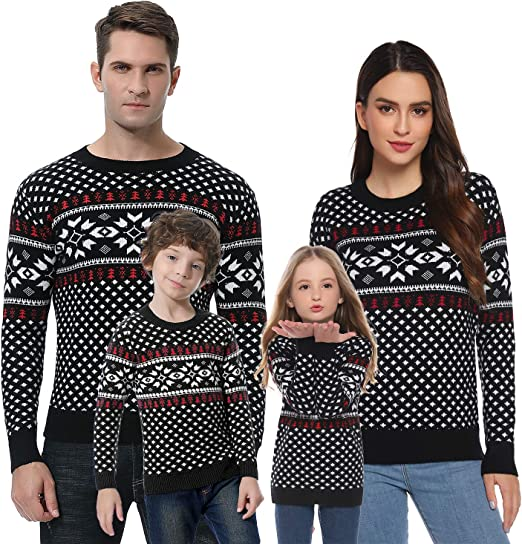 Amazon Com Abollria Christmas Sweater For Family Matching Ugly Christmas Funny Xmas Snowflake Sweaters Pullover Dad Mom Kids Clothing