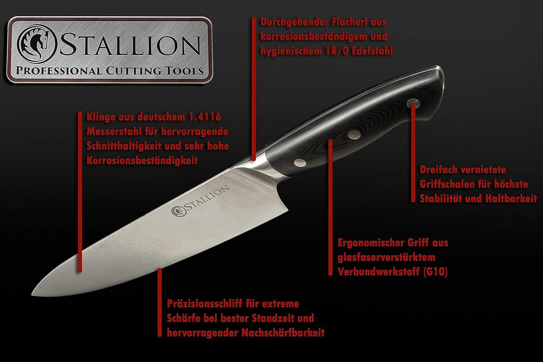 Lama in tedesco 1.4116 Coltello in acciaio e manico in G10 vetroresina Coltello Santoku 17,5 cm Stallion Professional