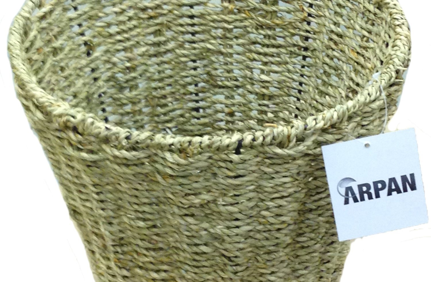 Arpan Set of 2 Seagrass Round Waste Paper Bin/Basket/Storage - Ideal For Home, Office, Bedrooms