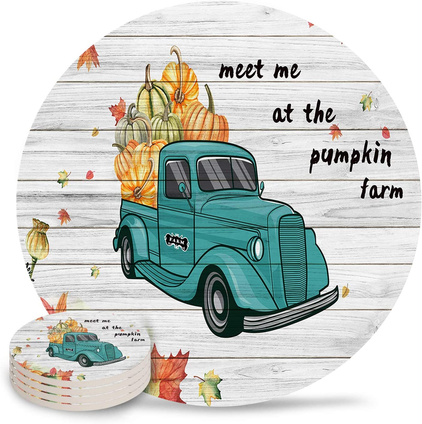 Thanksgiving Day Coasters For Drinks Set of 4, Absorbent Ceramic Coaster with Cork Back, Use as House, Living Room or Coffee Bar Decor, Farm Pumpkin Truck Wooden Planks