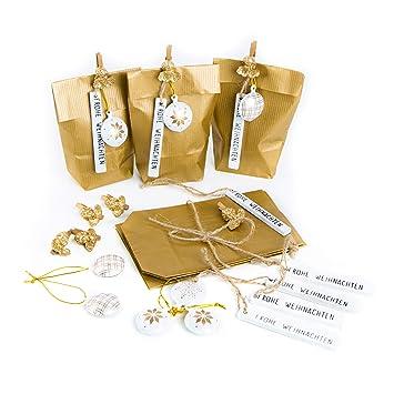 Frohe Weihnachten Gold.16 X Edle Kleine Verpackung Papiertüte 9 X 15 X 3 5 Gold Frohe