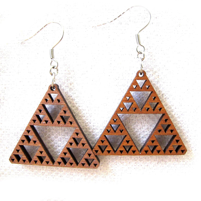 Fractal earrings, Sierpinski triangle, Inspirational Jewelry, Math jewelry, science jewelry, wooden earrings, laser cut