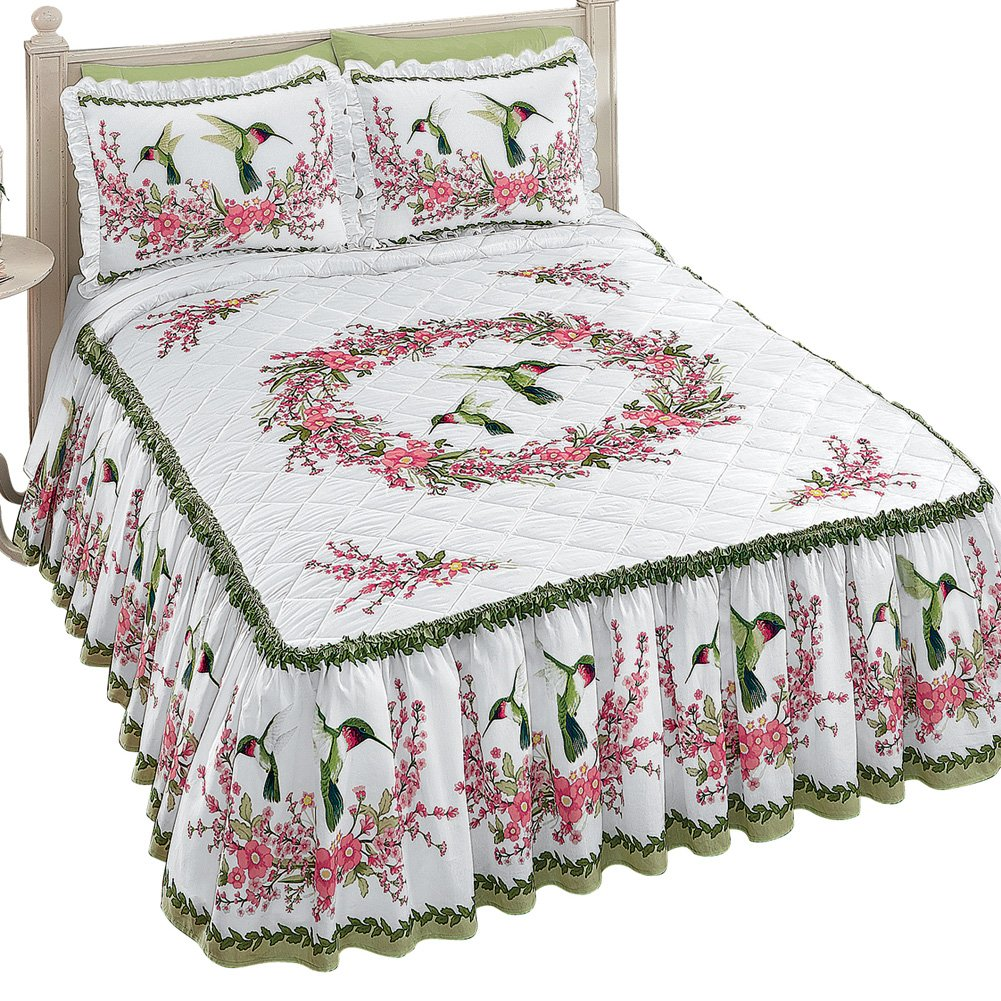 Collections Etc Quilt-top White Bedspread with Hummingbirds and Floral Design, Includes Ruffled Skirt, Queen