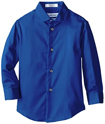 Amazon.com: Calvin Klein Boys' Long Sleeve Sateen Dress Shirt ...