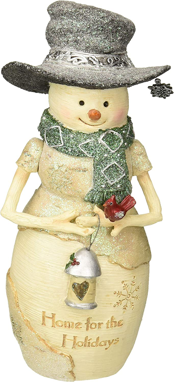 Pavilion Gift Company Pavilion-Home for The Holidays-7.5 Inch Collectible Holding A Lantern Snowman Figurine, Beige
