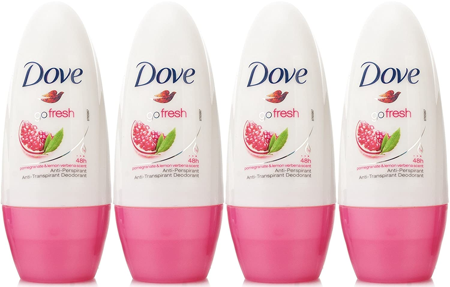 Dove Antiperspirant Deodorant Roll-On, Go Fresh Pomegranate & Lemon Verbena, 1.7 Oz / 50 Ml (Pack of 4)